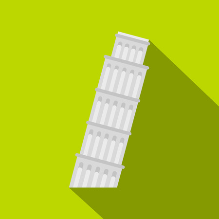leaning tower of pisa: Pisa Tower icon. Flat illustration of Pisa Tower vector icon for web isolated on green background