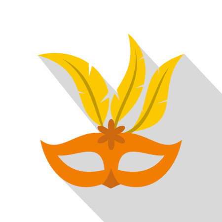 stage costume: Orange carnival mask icon. Flat illustration of carnival mask vector icon for web isolated on white background