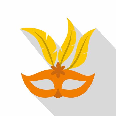 Orange carnival mask icon. Flat illustration of carnival mask vector icon for web isolated on white background