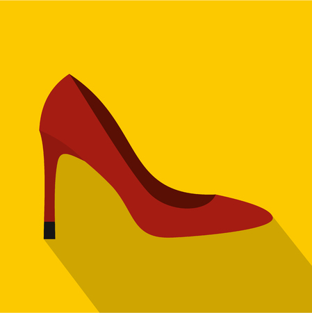 Red high heel shoe icon. Flat illustration of high heel shoe vector icon for web isolated on yellow background Illustration