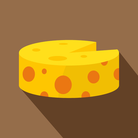 Wheel of traditional cheese icon. Flat illustration of traditional cheese vector icon for web