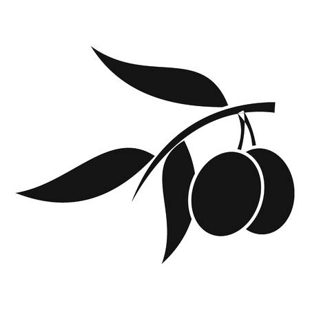 Olive tree branch with two olives icon. Simple illustration of olive tree branch vector icon for web