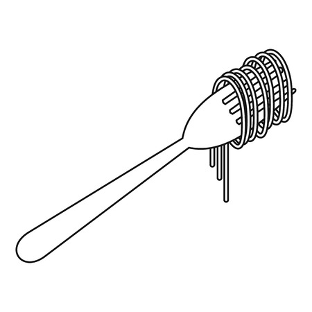 cooked: Cooked spaghetti on a fork icon. Outline illustration of cooked spaghetti vector icon for web
