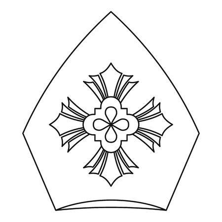 clerical: Pope hat icon. Outline illustration of pope hat vector icon for web