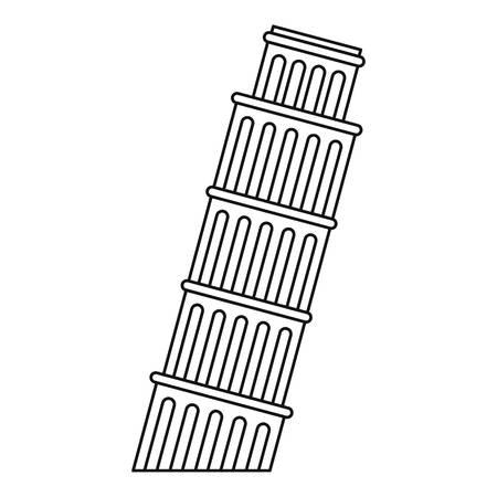 Scheve toren van Pisa icoon. Schets illustratie van de toren van Pisa vector pictogram voor web