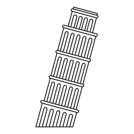 Leaning tower of Pisa icon. Outline illustration of Pisa tower vector icon for web