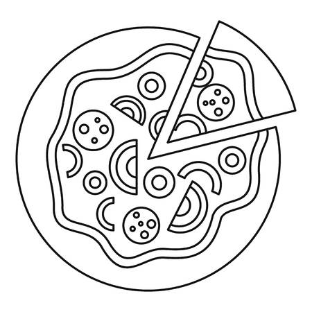 melted cheese: Pizza icon. Outline illustration of pizza vector icon for web Illustration