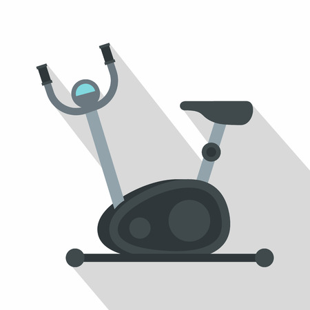hometrainer: Exercise bicycle icon. Flat illustration of exercise bicycle vector icon for web isolated on white background