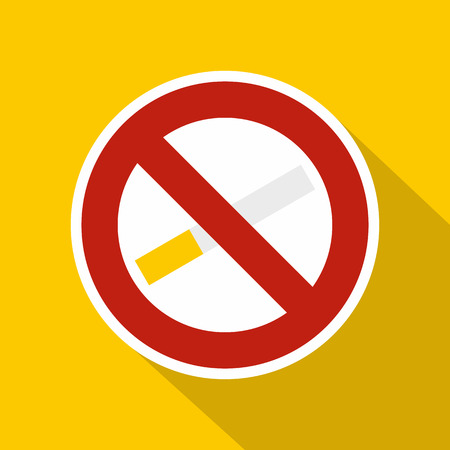 pernicious habit: No smoking sign icon. Flat illustration of no smoking sign vector icon for web isolated on yellow background