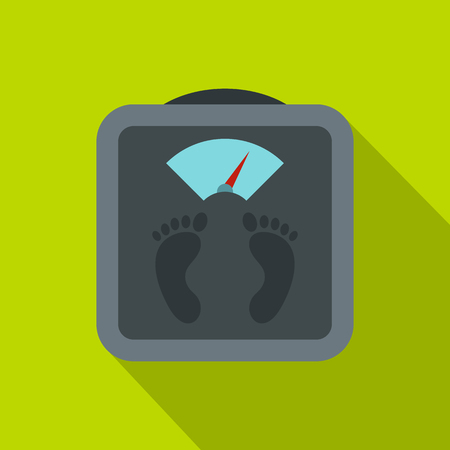 analog weight scale: Gray floor scales icon. Flat illustration of floor scales vector icon for web isolated on green background