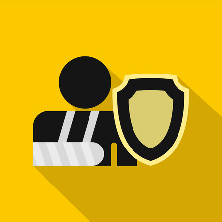 insure: Broken hand and safety shield icon. Flat illustration of broken hand vector icon for web isolated on yellow background Illustration