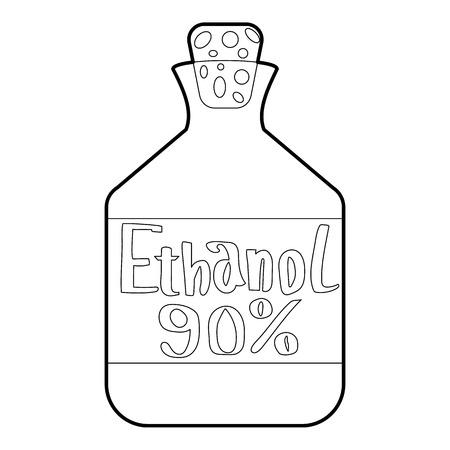 Ethanol in der Flasche Symbol. Prinzipdarstellung von Ethanol in der Flasche Vektor-Symbol für Web-Design