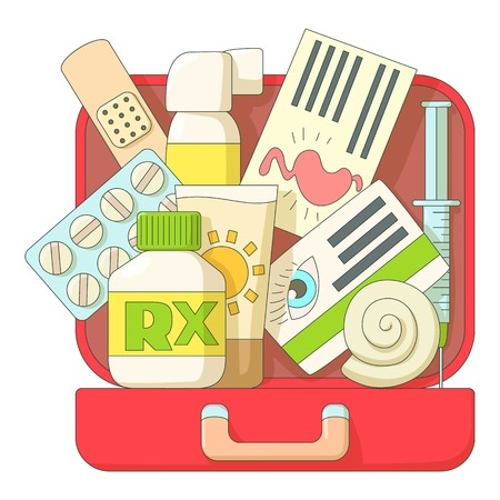 First aid kit icons set. Flat illustration of first aid kit vector icons for web Ilustracja