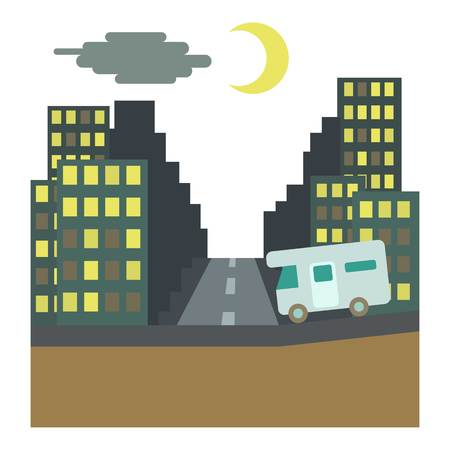 rides: Camper rides at night in city concept. Flat illustration of camper rides at night in city vector concept for web