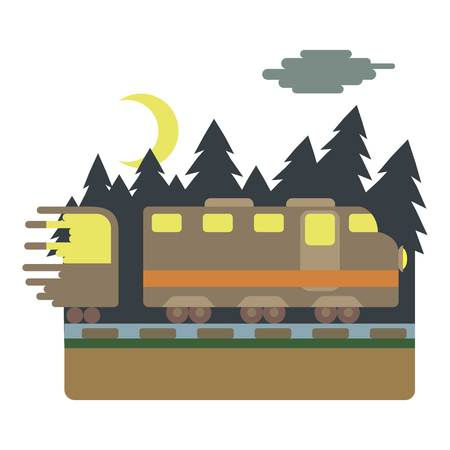 Train in night rides through forest concept. Flat illustration of train in night rides through forest vector concept for web Illustration