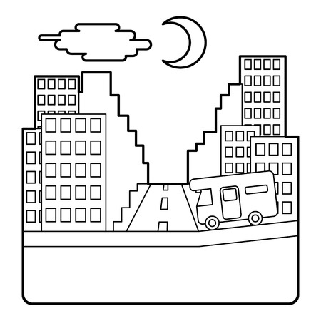 rides: Camper rides at night in city concept. Outline illustration of camper rides at night in city vector concept for web