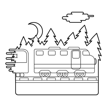 through: Train in night rides through forest concept. Outline illustration of train in night rides through forest vector concept for web