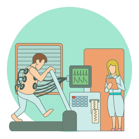 medical testing: Medical testing person on treadmill concept. Flat illustration of medical testing person on treadmill vector concept for web Illustration