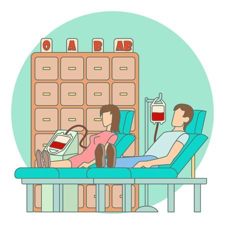 transfusion: Blood transfusion in hospital concept. Flat illustration of blood transfusion in hospital vector concept for web