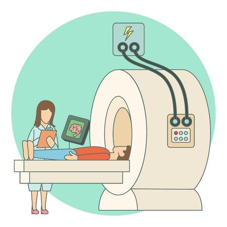 tomography: Tomography of human brain in hospital concept. Flat illustration of tomography of human brain in hospital vector concept for web