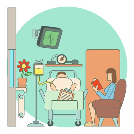 woman lying in bed: Sick man lies in hospital ward concept. Flat illustration of sick man lies in hospital ward vector concept for web Illustration
