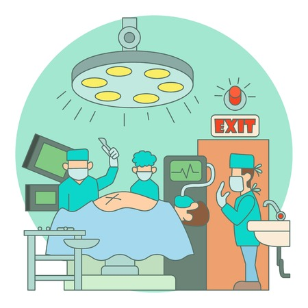 operation for: Surgical operation in hospital concept. Flat illustration of surgical operation in hospital vector concept for web Illustration