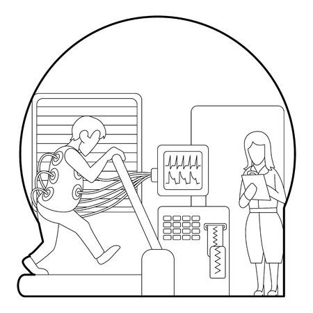 medical testing: Medical testing person on treadmill concept. Outline illustration of medical testing person on treadmill vector concept for web