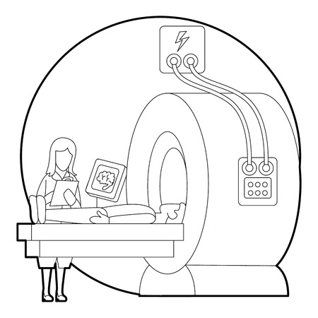 tomography: Tomography of human brain in hospital concept. Outline illustration of tomography of human brain in hospital vector concept for web Illustration