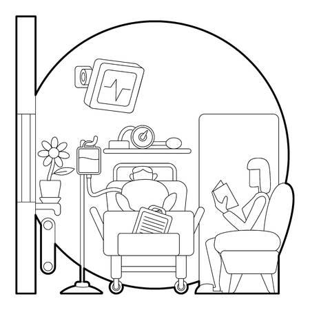 lies: Sick man lies in hospital ward concept. Outline illustration of sick man lies in hospital ward vector concept for web