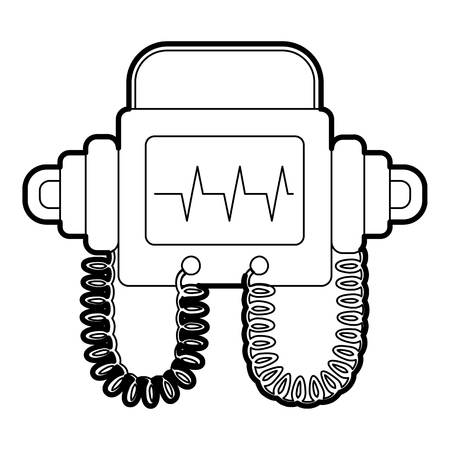 fibrillation: Defibrillator icon. Outline illustration of defibrillator vector icon for web