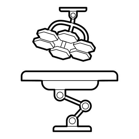 lamp outline: Operating table and lamp icon. Outline illustration of operating table and lamp vector icon for web Illustration