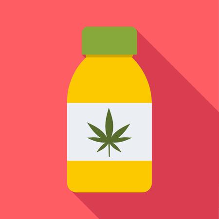 Jar of powder marijuana icon. Flat illustration of jar of powder marijuana vector icon for web Illustration