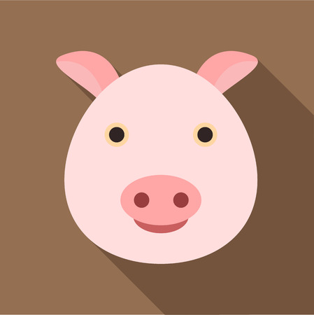 grunt: Pig icon. Flat illustration of pig vector icon for web