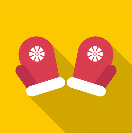 mittens: Red winter mittens icon. Flat illustration of red winter mittens vector icon for web