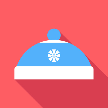 pompom: Blue hat with pompom icon. Flat illustration of blue hat with pompom vector icon for web