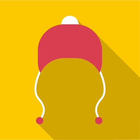 ski wear: Red hat with pompom icon. Flat illustration of red hat with pompom vector icon for web