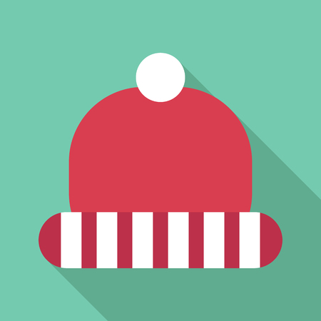 Winter red hat with white stripes icon. Flat illustration of winter red hat with white stripes vector icon for web