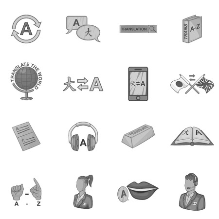 interpreter: Language education icons set. Gray monochrome illustration of 16 language education vector icons for web
