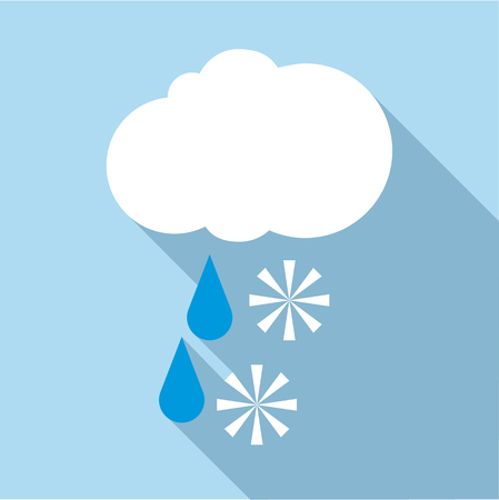 overcast: Snow with rain icon. Flat illustration of snow with rain vector icon for web