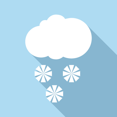 sleet: Snow with cloud icon. Flat illustration of snow with cloud vector icon for web Illustration