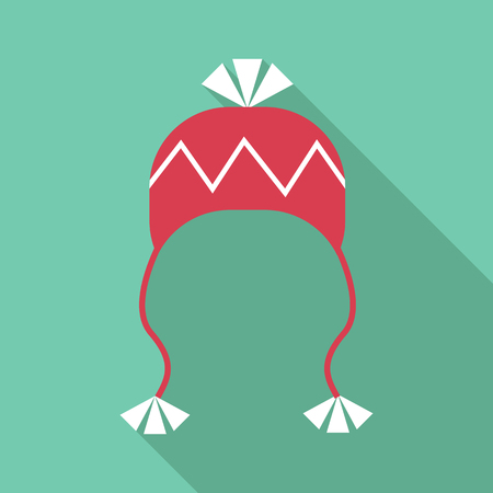 ski wear: Hat with pompom icon. Flat illustration of hat with pompom vector icon for web