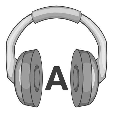 talking dictionary: Language learning in headphonese icon. Gray monochrome illustration of language learning in headphones vector icon for web Illustration