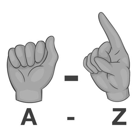 gestural: Language of gestures icon. Gray monochrome illustration of language of gestures vector icon for web