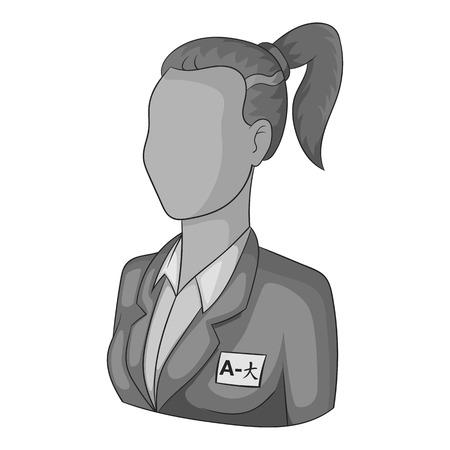translator: Woman translator of languages icon. Gray monochrome illustration of woman translator of languages vector icon for web Illustration