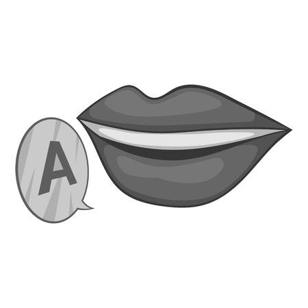 pronounce: Lips pronounce letter a icon. Gray monochrome illustration of lips pronounce letter a vector icon for web