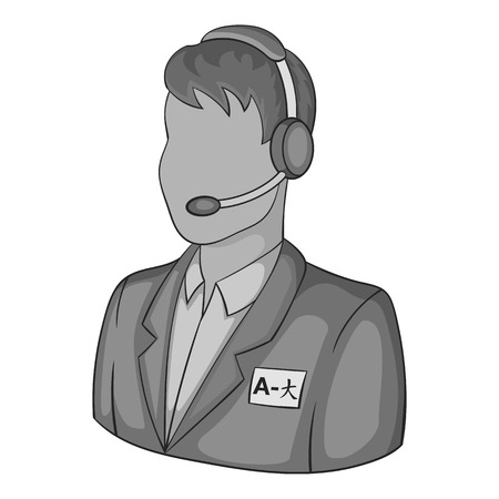 translator: Male translator on phone icon. Gray monochrome illustration of male translator on phone vector icon for web