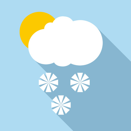 sleet: Snow in sunny weather icon. Flat illustration of snow in sunny weather vector icon for web