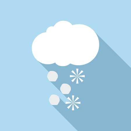sleet: Snow and hail icon. Flat illustration of snow and hail vector icon for web Illustration