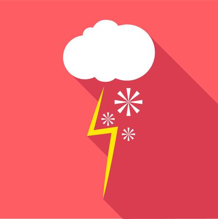sleet: Snow and thunderstorm icon. Flat illustration of snow and thunderstorm vector icon for web