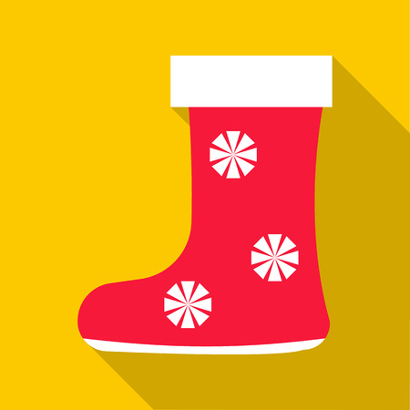 jackboot: Red felt boots icon. Flat illustration of red felt boots vector icon for web